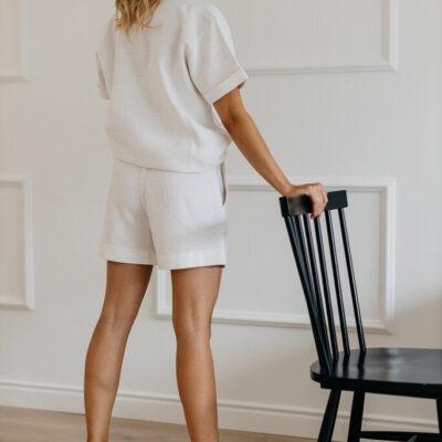 Lniany biały komplet damski Medison