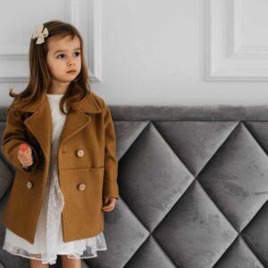 Dziewczęcy dwurzędowy karmelowy płaszcz Noli