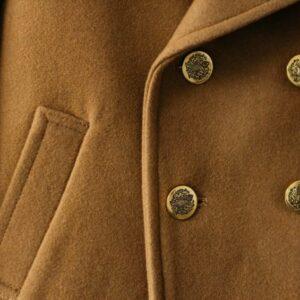 Chłopięcy dwurzędowy płaszcz z karmelowej wełny Karl
