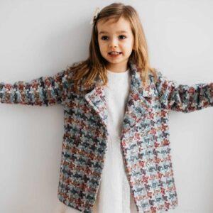 Dziewczęcy dwurzędowy płaszcz w pepitkę Nola
