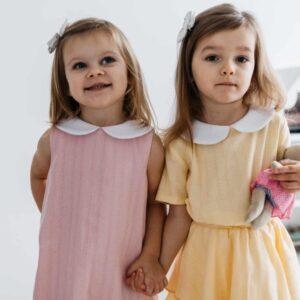 Dziewczęcy żółty lniany komplet Mel