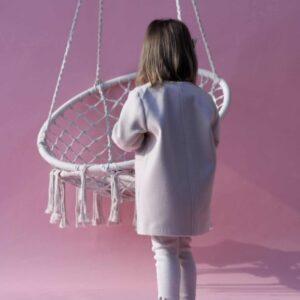 Dziewczęcy kremowy płaszcz z flauszu Mia Creme