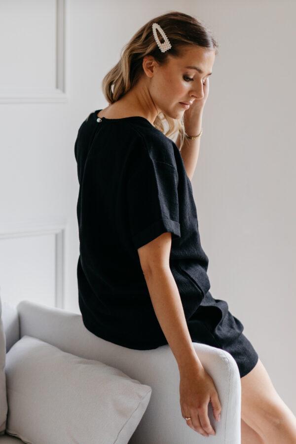 Lniana bluzka czarna