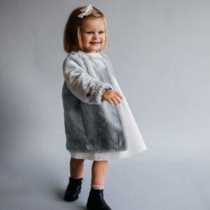 Dziewczęca bawełniana sukienka w kratę z długim rękawem