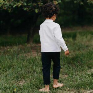 Chłopięca biała koszula z lnu