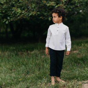 Chłopięce granatowe długie spodnie z bawełny