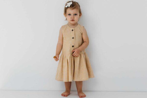 Dziewczęca lniana sukienka w paski Lola