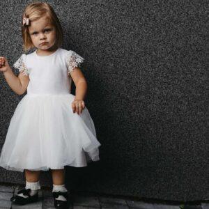 Sukienka z dzianiny bawełnianej z tiulem Ami