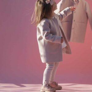 Dziewczęcy kremowy płaszcz z flauszu Mia