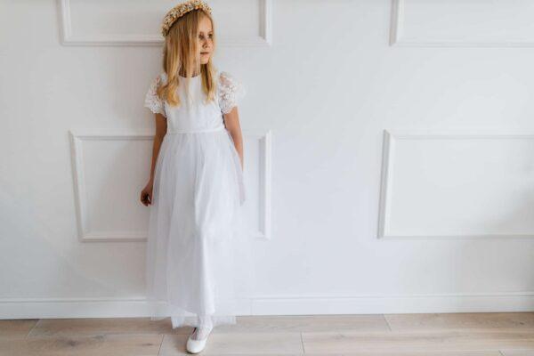 Zwiewna sukienka komunijna z satyny Zuzanna
