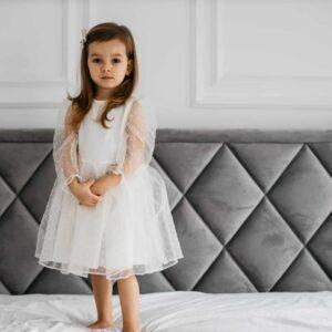 Dziewczęca elegancka sukienka z organtyny w kropeczki Harper