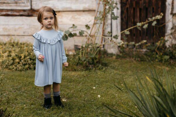 Błękitna sukienka wiskozowa z falbanką Anna