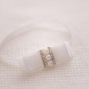 Aksamitna opaska z perełką i kryształkami