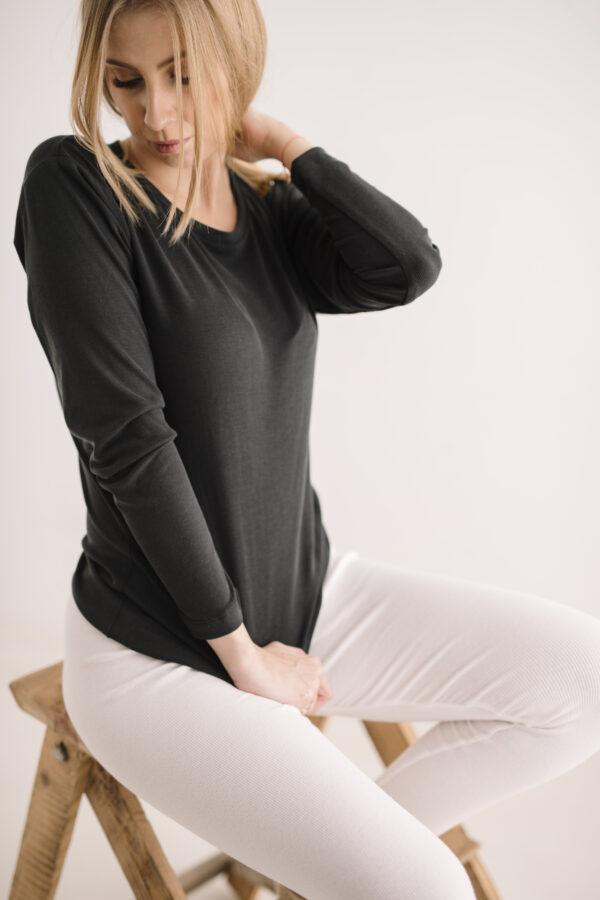 Grafitowa bluzka z długim rękawem z modalu