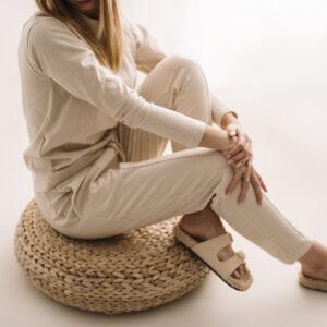 Beżowy komplet dresowy z lnu i bawełny
