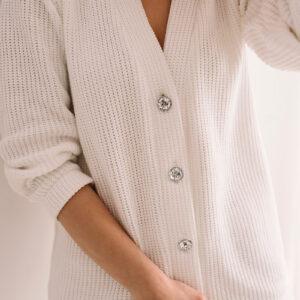 Bawełniany kardigan z biżuteryjnymi guzikami