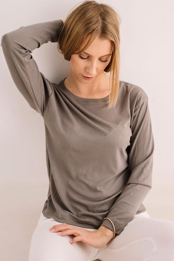 Szara bluzka z długim rękawem z modalu