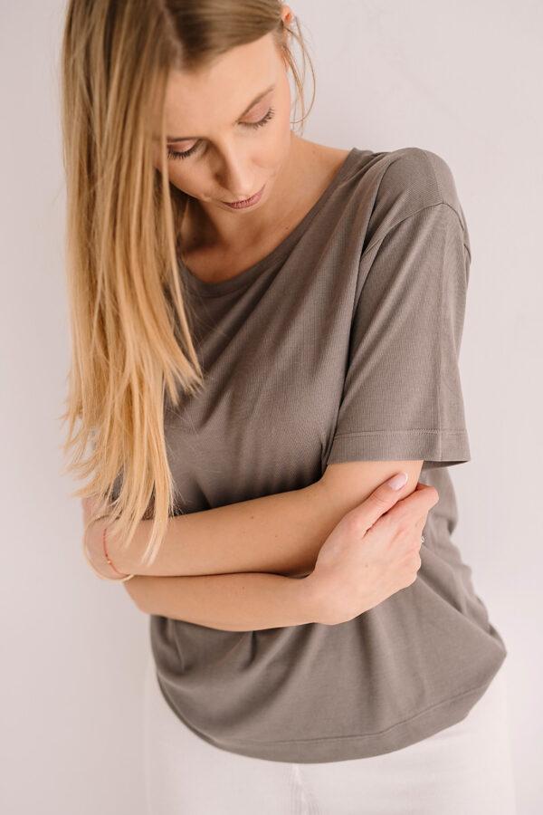 Bluzka z krótkim rękawem z modalu szara