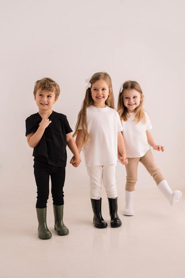 Koszulka biała dziecięca z bawełny organicznej