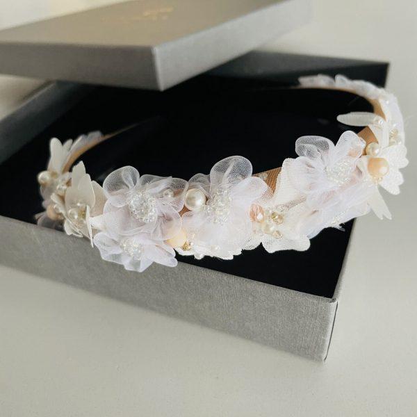 Opaska ozdobna do włosów z kwiatami 3D