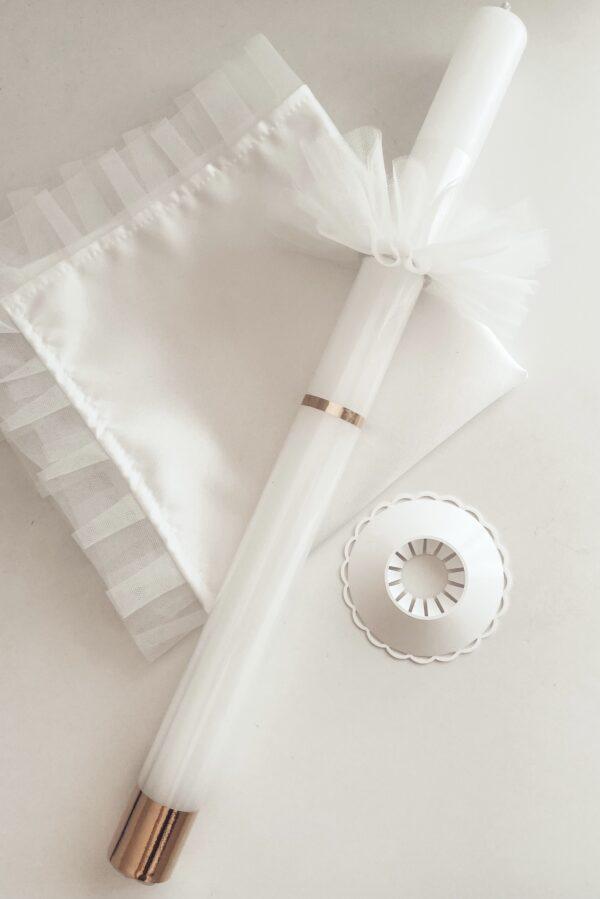Zestaw tradycyjna szatka do chrztu z tiulem oraz świeca