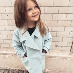 Dziewczęcy płaszczyk z wełny Baby Blue